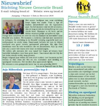 nieuwsbrief december stichting nieuwe generatie brasil